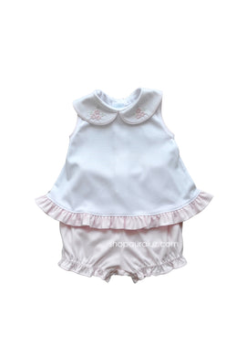 Auraluz Girl Sleeveless 2pc Knit Set..Pink/White with embroidered flowers