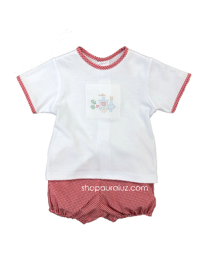 Auraluz 2pc Set...White knit top with embroidered Christmas train and gingham bloomer shorts. STORE EXCLUSIVE!