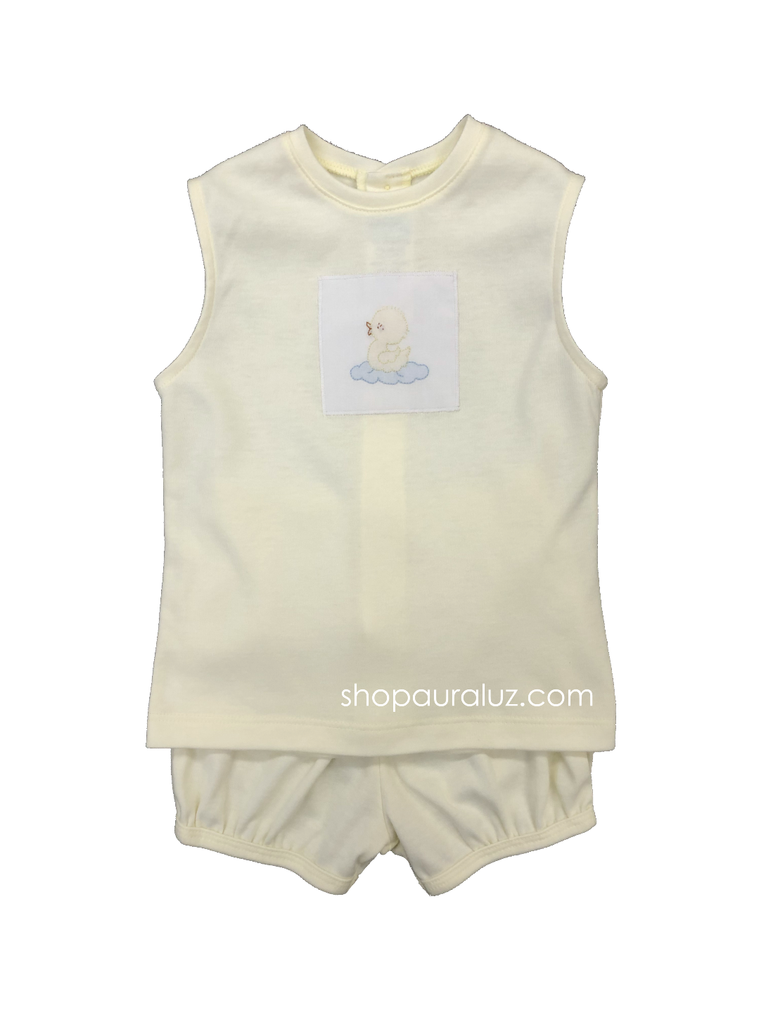 Auraluz Boy 2pc Sleeveless Knit Set..Yellow with embroidered duck