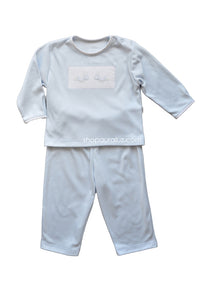 Auraluz Knit Boy 2pc...Blue with embroidered grasshoppers