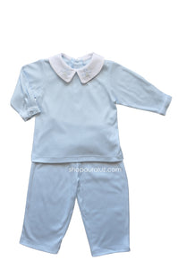 Auraluz Knit Boy 2pc l/s...Blue with boy collar and embroidered airplanes