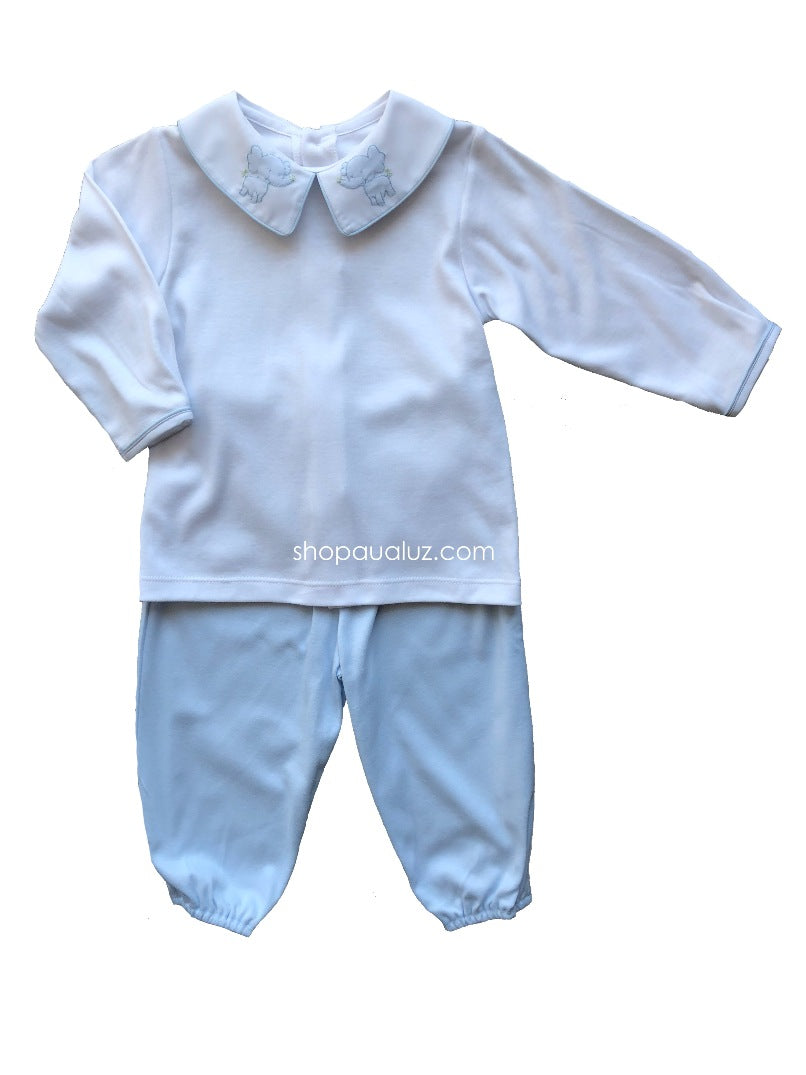 Auraluz Knit Boy 2pc l/s...Blue/white with boy collar and embroidered elephants