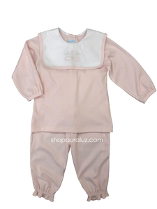 Auraluz Knit Girl 2pc...Pink with white square collar and embroidered bow