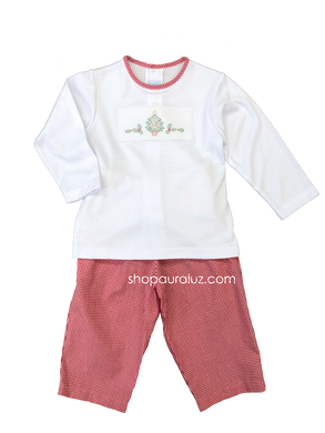 Auraluz 2pc Set...White l/s knit shirt with embroidered tree and gingham pants. STORE EXCLUSIVE!