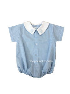 Auraluz Boy Bubble/Button-Front..Blue check w/white boy collar and embroidered frogs