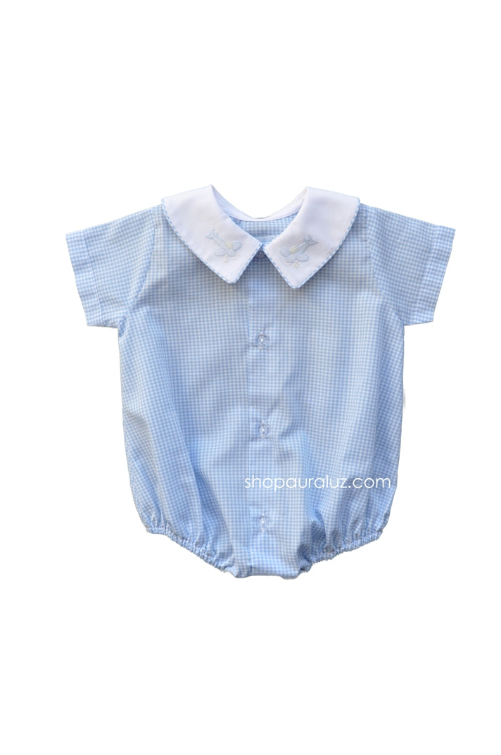 Auraluz Boy Bubble/Button-Front..Blue check w/white boy collar and embroidered airplanes