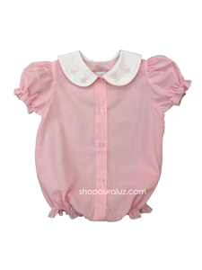 Auraluz Girl Bubble/Button-Front..Pink check w/white p.p. collar and embroidered tulips