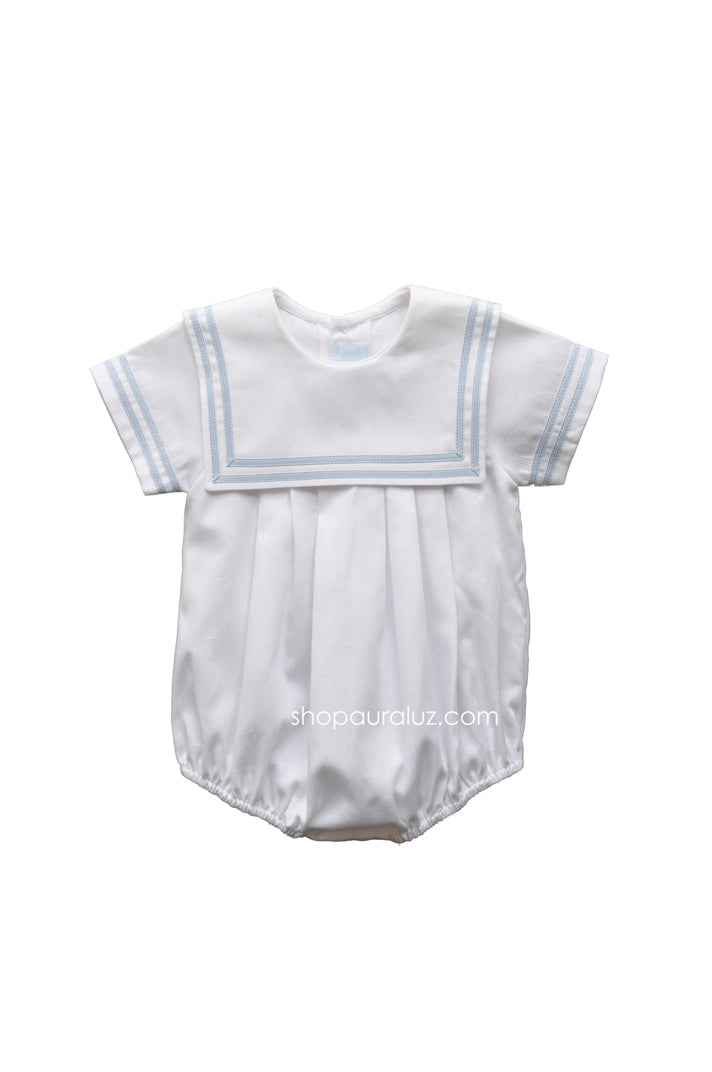 Auraluz Pique Bubble..White with blue double ribbon trim