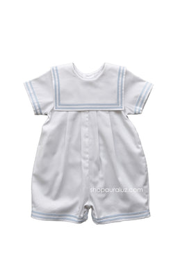 Auraluz Pique Shortall..White with blue double ribbon trim