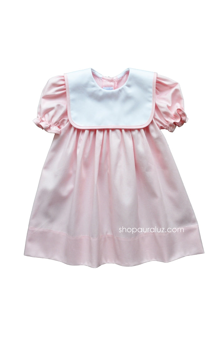 Auraluz Pique Dress..Pink with white square collar