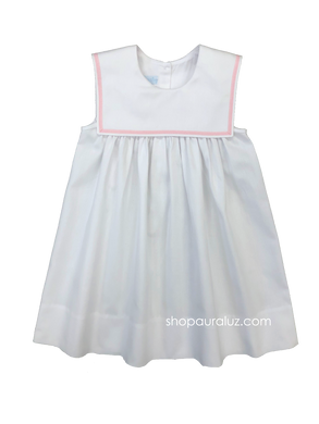 Auraluz Pique Sleeveless Dress..White with pink ribbon trim