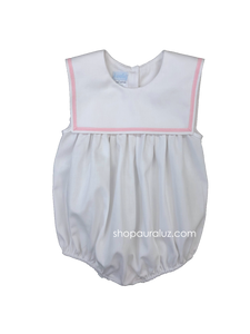 Auraluz Pique Sleeveless Bubble..White with pink ribbon trim