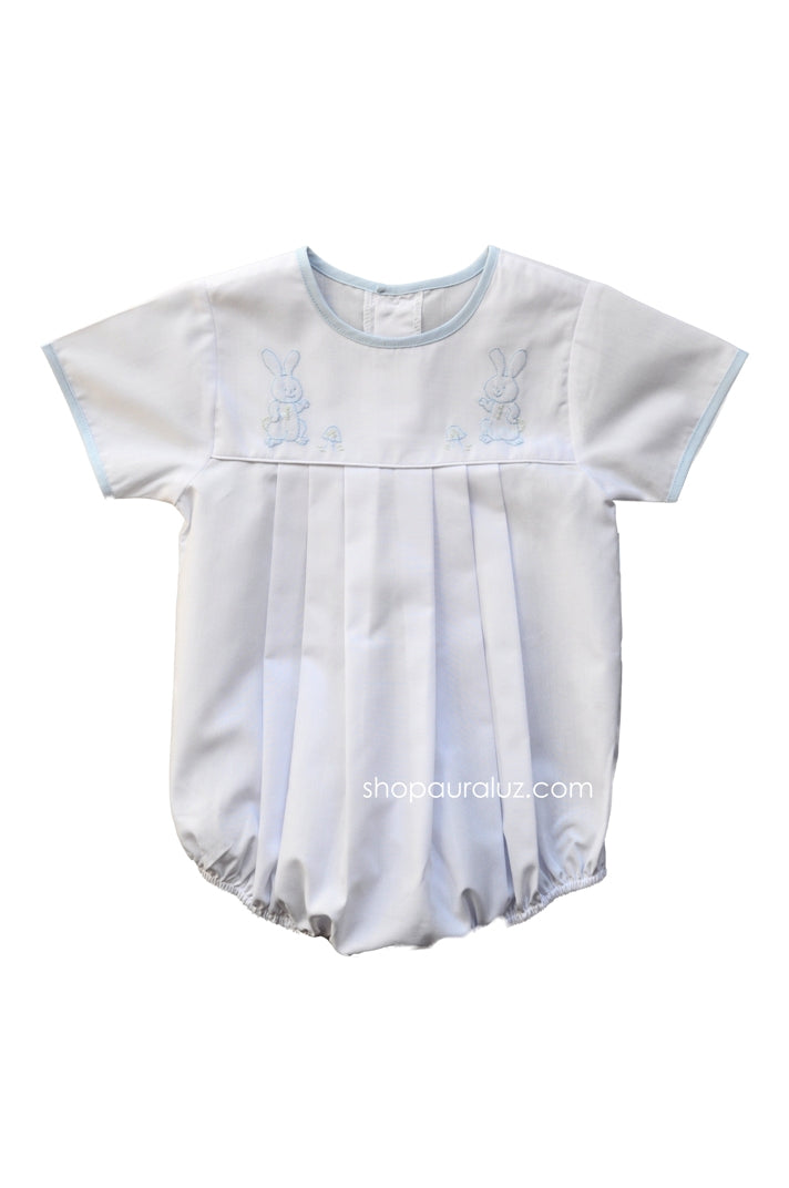 Auraluz Boy Bubble..White with blue binding trim, no collar and embroidered bunnies