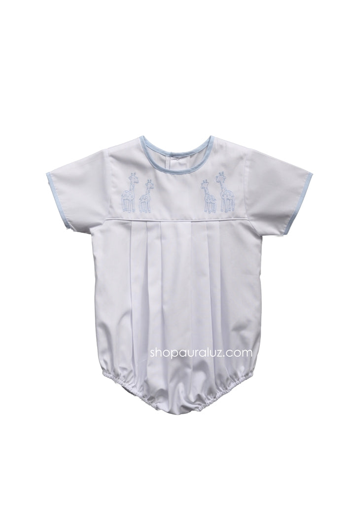 Auraluz Boy Bubble..White with blue binding trim, no collar and embroidered giraffes