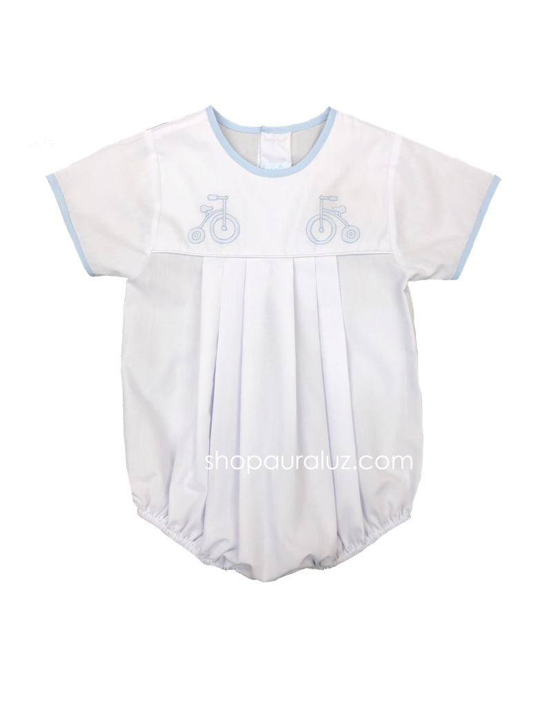 Auraluz Boy Bubble..White with blue binding trim, no collar and embroidered tricycle