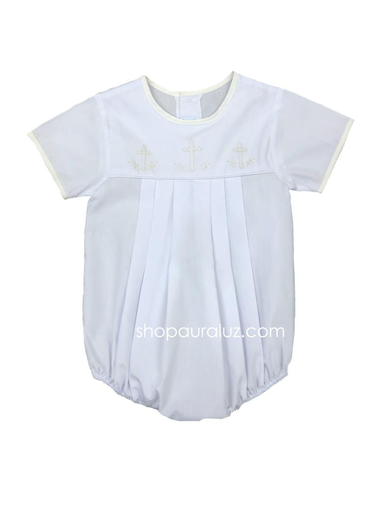Auraluz Boy Bubble..White with ecru binding trim, no collar and embroidered crosses