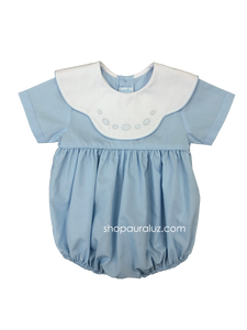 Auraluz Bubble, s/s...Blue w/binding, white scalloped collar and embroidered ovals