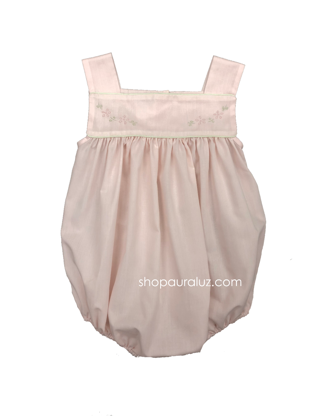 Auraluz Girl Sun Bubble...Pink with light green piping and embroidered flowers