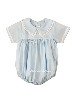 Auraluz Boy Bubble..Blue with ecru lace and boy collar