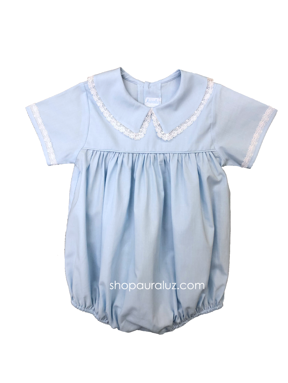 Auraluz Boy Bubble..Blue with white lace and boy collar