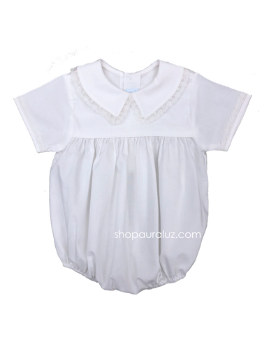 Auraluz Boy Bubble..White with ecru lace and boy collar