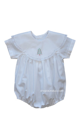 Auraluz Bubble...White with lace,scalloped round collar and embroidered tree