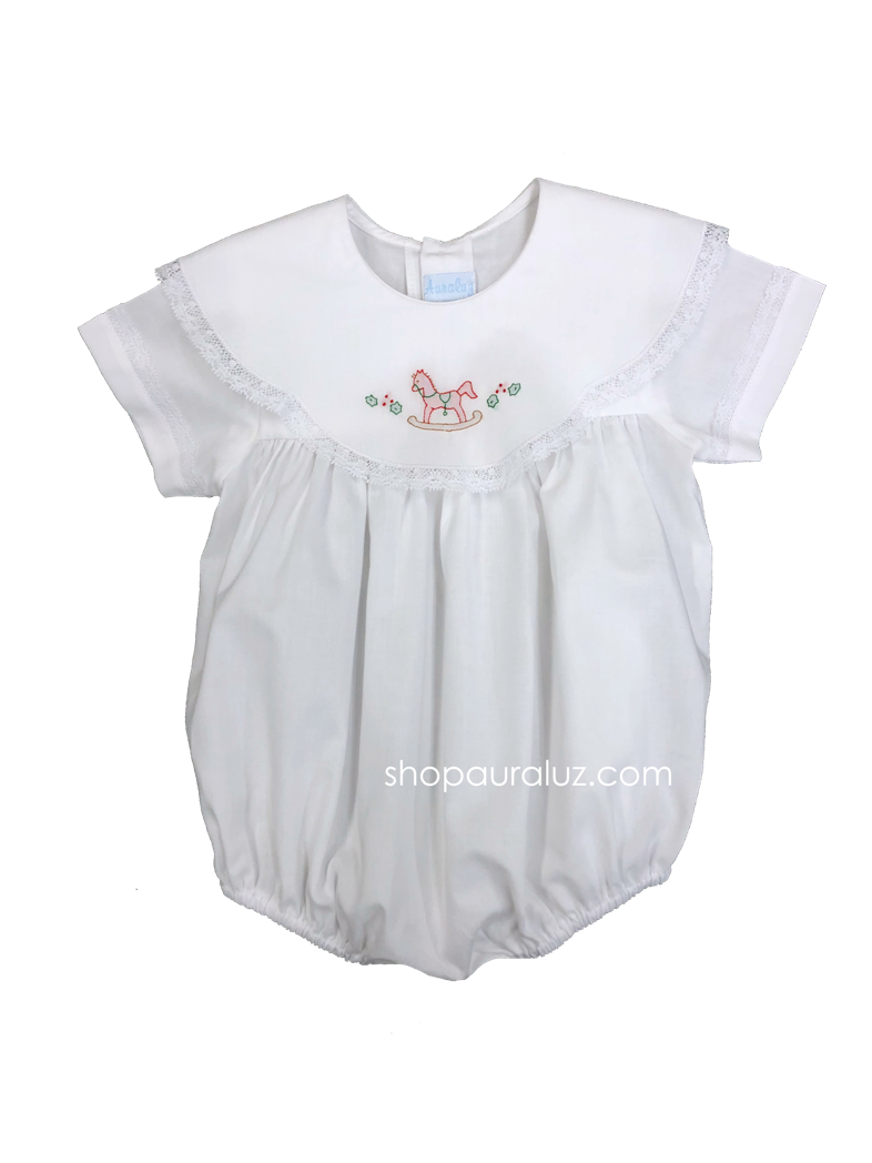 Auraluz Bubble...White with white lace,scalloped round collar and embroidered rocking horse