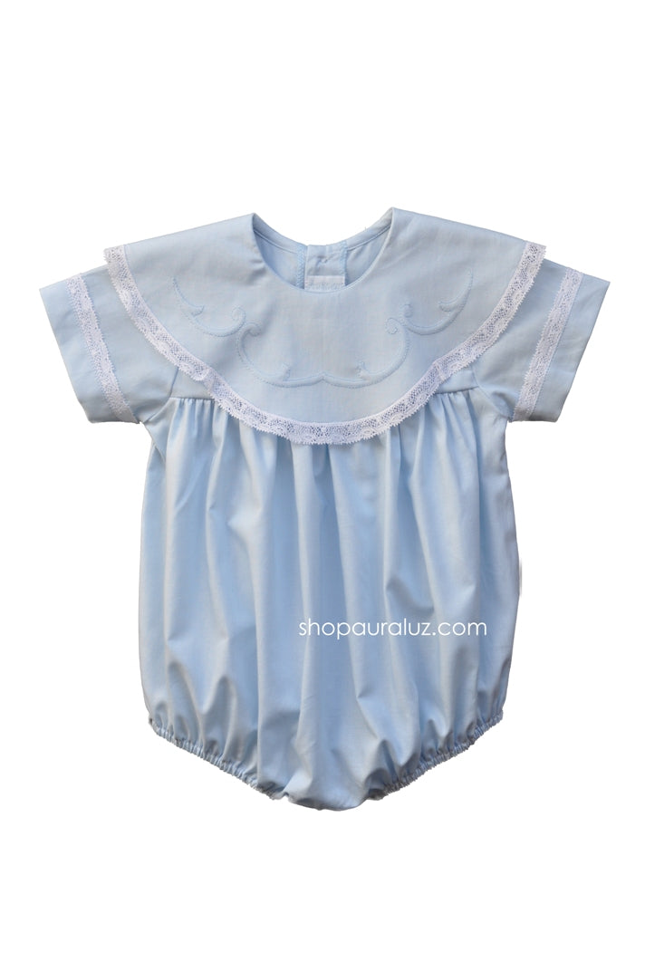 Auraluz Bubble...Blue with white lace,scalloped round collar and embroidery