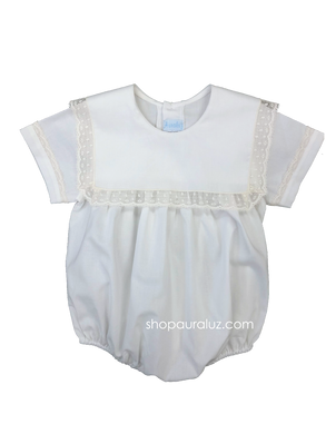 Auraluz Boy Bubble..White with ecru lace and square collar