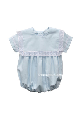 Auraluz Boy Bubble..Blue with white lace and square collar