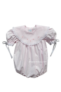 Auraluz Bubble..Pink with white lace,scalloped round collar and embroidered flowers