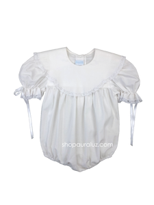 Auraluz Girl Bubble..White with white lace and scalloped round collar