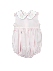 Auraluz Sleeveless Bubble...Pink window pane with embroidered flowers