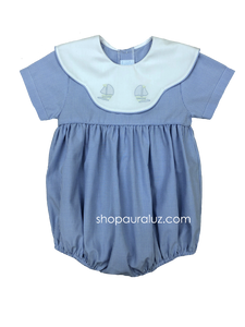 Auraluz Bubble..Blue micro check w/binding, scalloped collar and embroidered sailboats