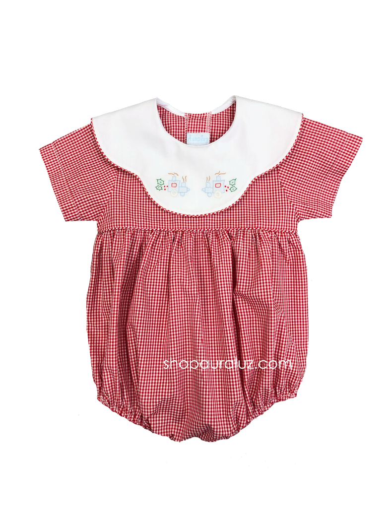 Auraluz Christmas Boy Bubble..Red check w/binding, scalloped collar and embroidered train