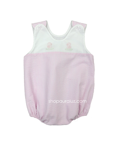Auraluz Sleeveless Seersucker Bubble...Pink with embroidered ducks. STORE EXCLUSIVE!