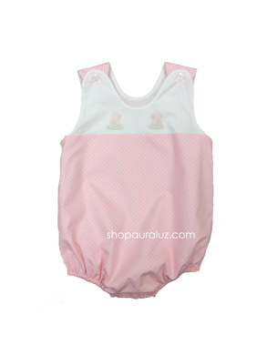 Auraluz Sleeveless Bubble..Pink with white polka dots and embroidered ducks. STORE EXCLUSIVE!