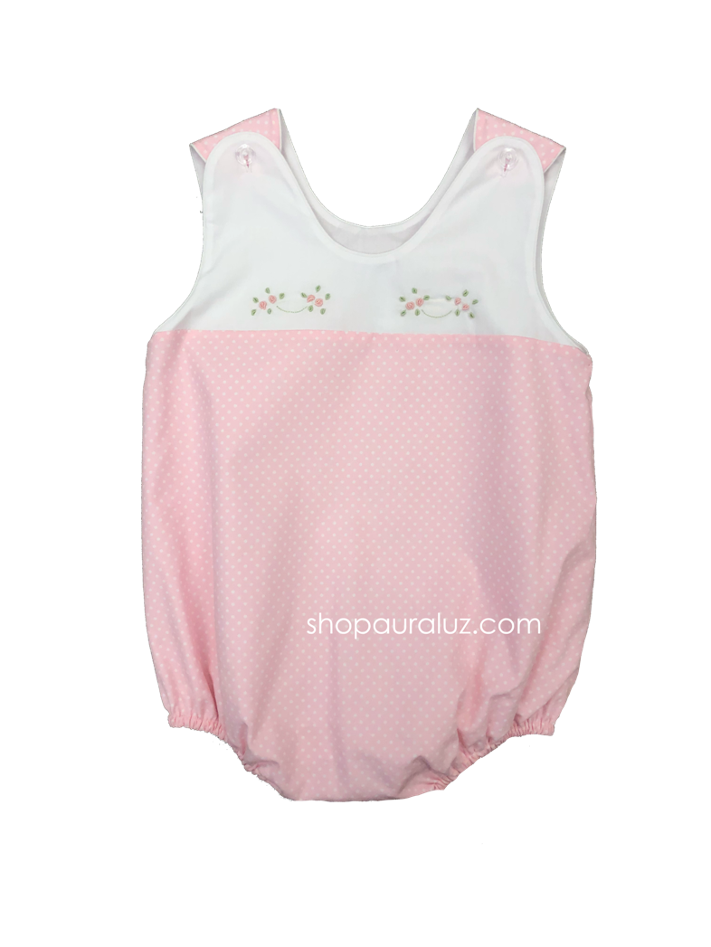 Auraluz Sleeveless Bubble..Pink with white polka dots and embroidered flowers. STORE EXCLUSIVE!