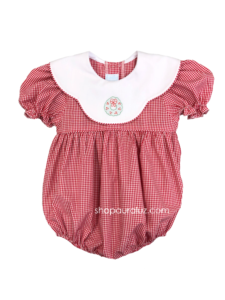 Auraluz Christmas Girl Bubble..Red check w/binding, scalloped collar and embroidered wreath