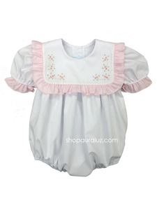 Auraluz Girl Bubble...White w/white square collar, pink ruffle trim and embroidered flowers