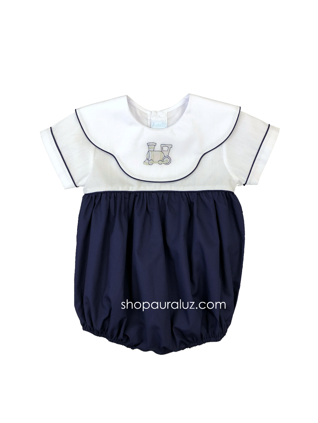 Auraluz Bubble, s/s...Navy w/binding, white scalloped collar and embroidered train