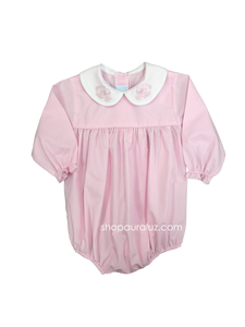 Auraluz Girl Bubble l/s...Pink check with white p.p.collar and embroidered doves