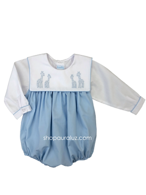 Auraluz Boy Bubble..l/s..Blue with square collar and embroidered giraffes