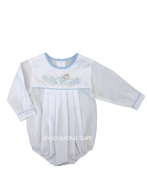 Auraluz Boy Bubble..l/s...White with blue binding trim, no collar and embroidered rocking horse