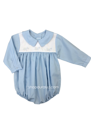 Auraluz Boy Bubble..l/s..Blue with boy collar and embroidered airplanes