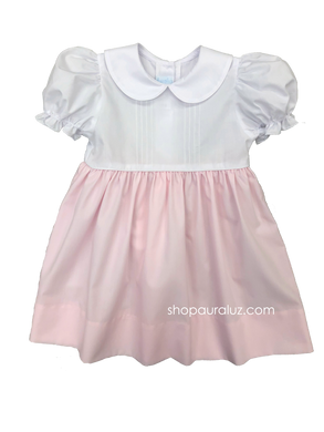 Auraluz Dress...Pink/white with tucks and p.p. collar