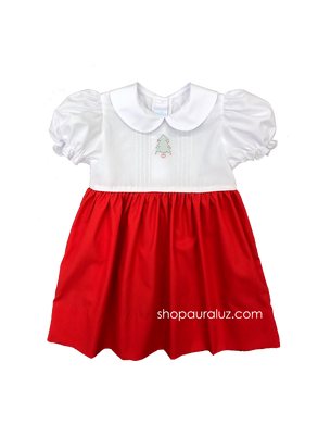 Auraluz Christmas Dress...Red/white with p.p. collar, tucks and embroidered tree