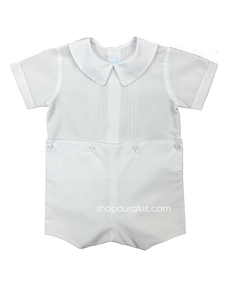Auraluz Boy Button-On...White with boy collar and tucks