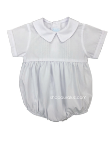 Auraluz Boy Bubble...White with boy collar and tucks