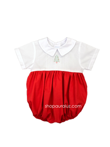 Auraluz Christmas Boy Bubble...Red/white with boy collar, tucks and embroidered tree
